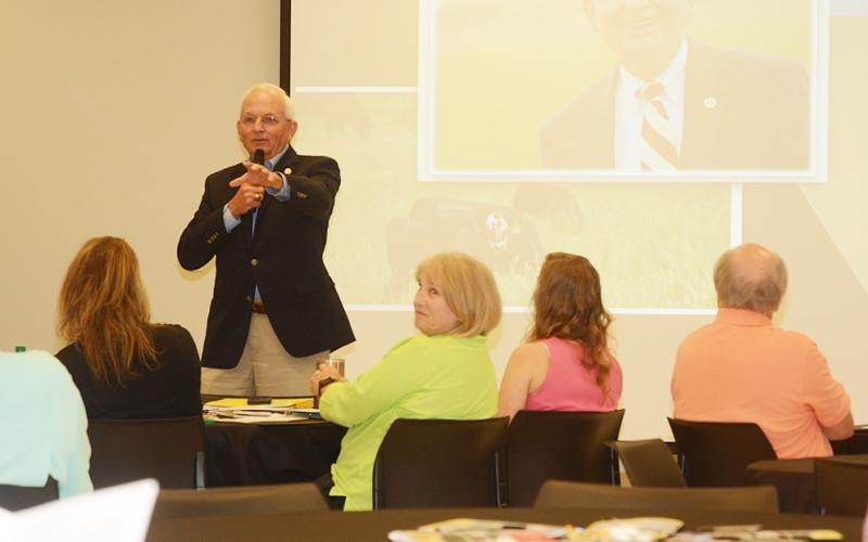 Georgia Secretary of Agriculture Gary Black talks to a group of business owners and local tourism officials during a meeting Tuesday in Hartwell. (Photo courtesy of The Hartwell Sun)