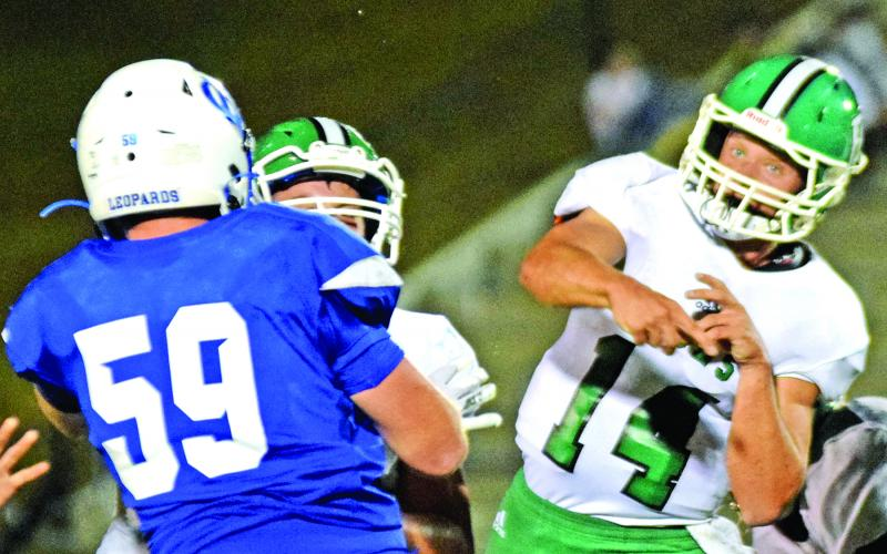 Everett Haselden (above) throws a pass during Friday's game against Banks County in Homer. The junior quarterback finished with 142 yards passing.