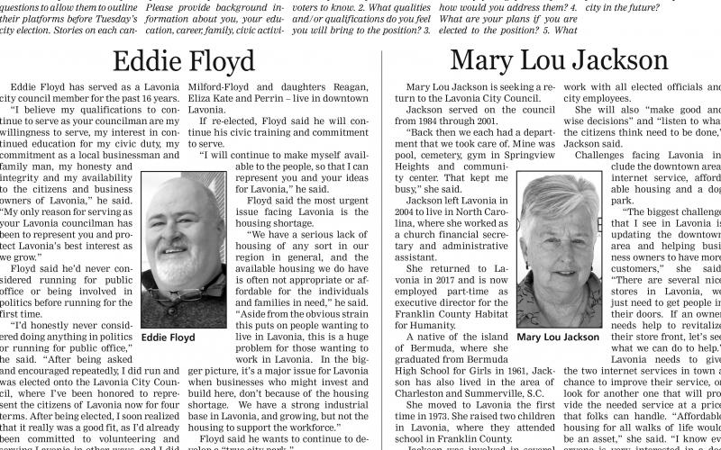 Incumbent Eddie Floyd and former council member Mary Lou Jackson are running for the Post 3 seat on the Lavonia City Council.