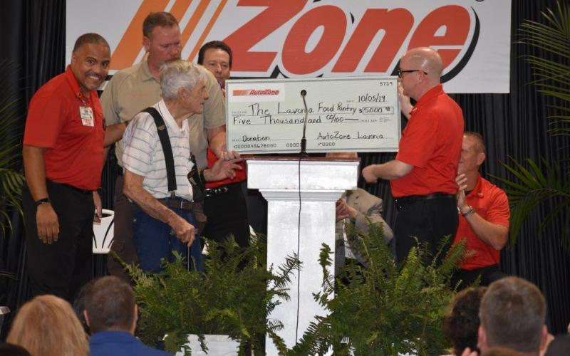 AutoZone in Lavonia recently donated $5,000 to the Lavonia Food Pantry. The pantry is a part of River of Life Restoration Ministries, which also organizes the Brighter Holidays fund.