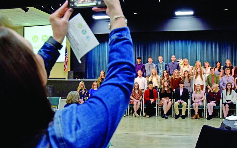 The honor graduates for the Franklin County High School Class of 2020 posed for photos after being honored Friday at the annual Franklin County Chamber of Commerce Honors Breakfast. (Photo by Scoggins)