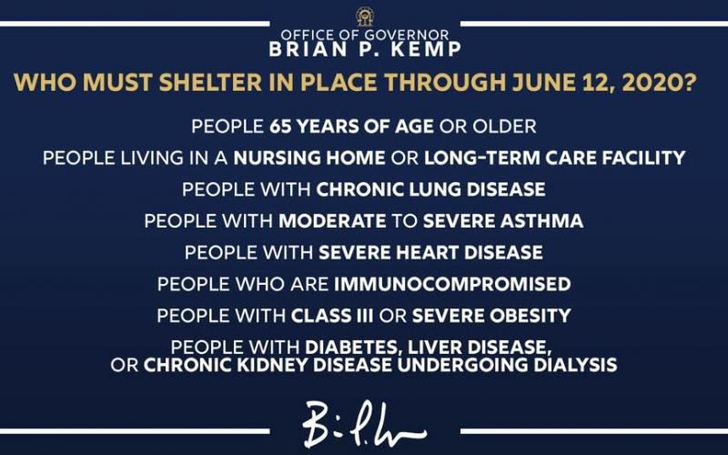 Georgia Gov. Brian Kemp continues to remind those most vulnerable to the coronavirus to stay at home.