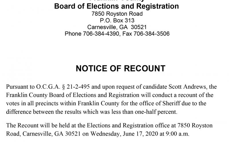 The Franklin County Board of Elections will hold a recount in the race for sheriff on Wednesday.