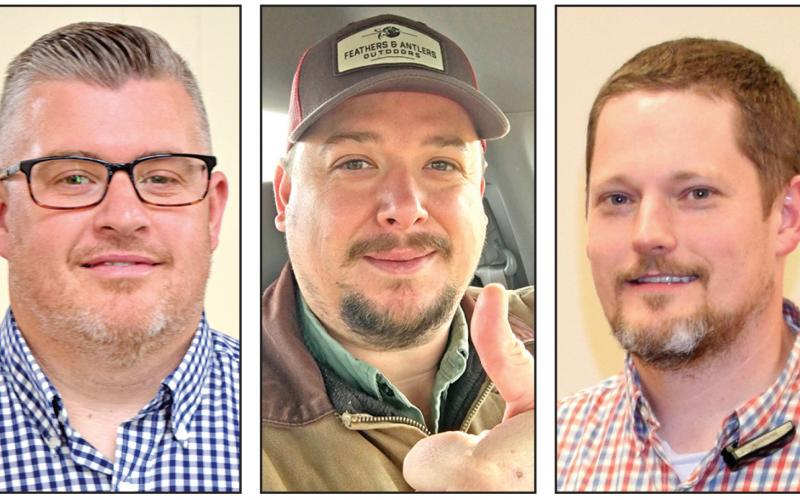Britt Ginn (left), Christopher Roach (center) and Jason Macomson (right) are running for chairman of the Franklin County Board of Commissioners.