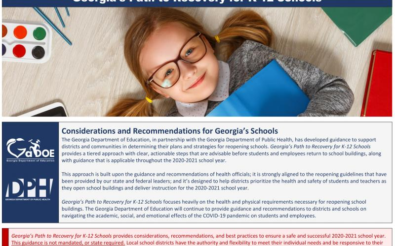 Georgia school officials released guidelines Monday on how to reopen the state's public schools for the 2020-21 school year amid the coronavirus pandemic.