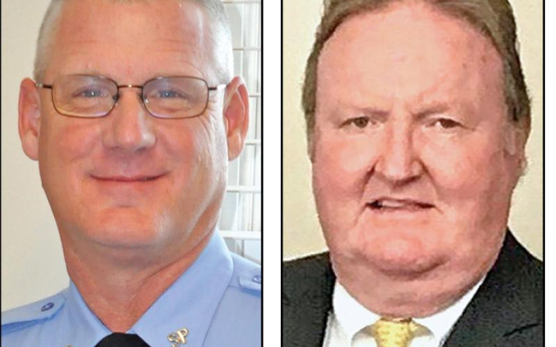 Scott Andrews (left) is challenging incumbent Stevie Thomas (right) for Franklin County sheriff.