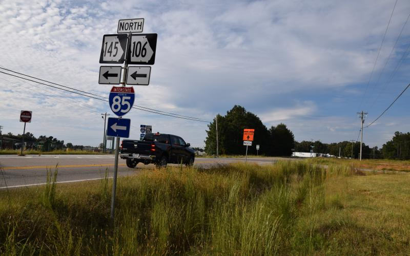 The Georgia Department of Transportation has placed the intersection of State Highways 59, 145 and 106 in Carnesville on an expedited list that could mean construction on improvements by the first of next year. (Photo by Scoggins)