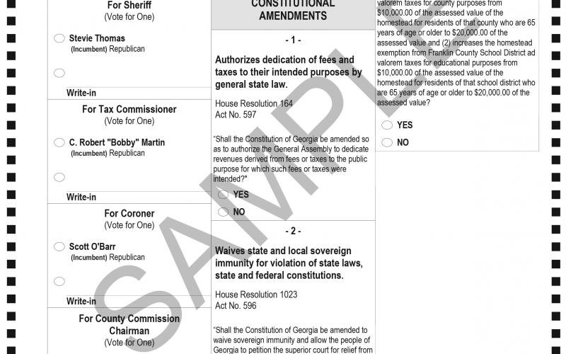The Franklin County Elections and Registration Office released the sample ballot for the Nov. 3 general election.