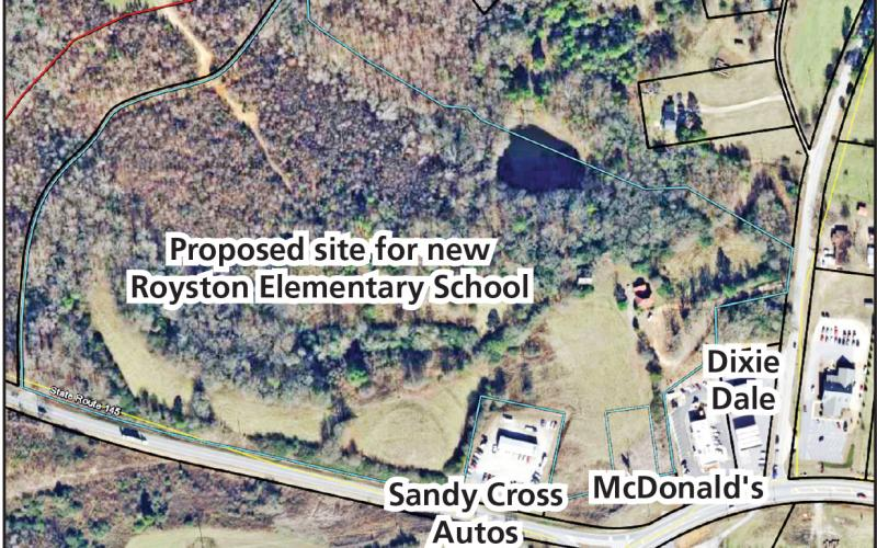 Three members of the Franklin County Board of Education spoke in favor Tuesday to ask School Superintendent Chris Forrer to pursue an option on property in Franklin Springs (outlined in blue) as the location for a new Royston Elementary School.