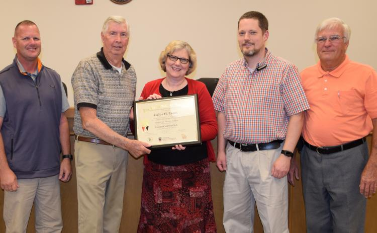 Elaine Evans (center) stands with Franklin County Commissioners (from left) Eddie Wester, Thomas Bridges, Jason Macomson and Robert Franklin after receiving her state clerk's certification in 2017. Commissioners voted 3-2 Tuesday not to reappoint Evans as clerk. Not pictured is Commissioner Ryan Swails, who was not a member of the board at the time this photo was taken.