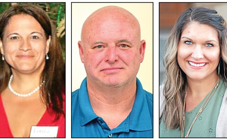 Tonya Bridges (left), Nick Fowler (center) and Heather Vaughn Hill (right) are all running to become Franklin County's next Clerk of Superior Court.